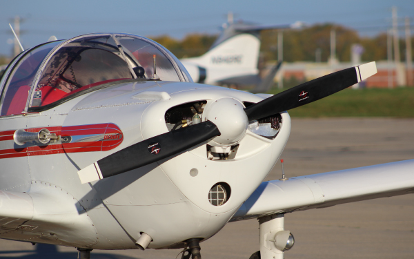 Close up of a general aviation plane parked on the ramp