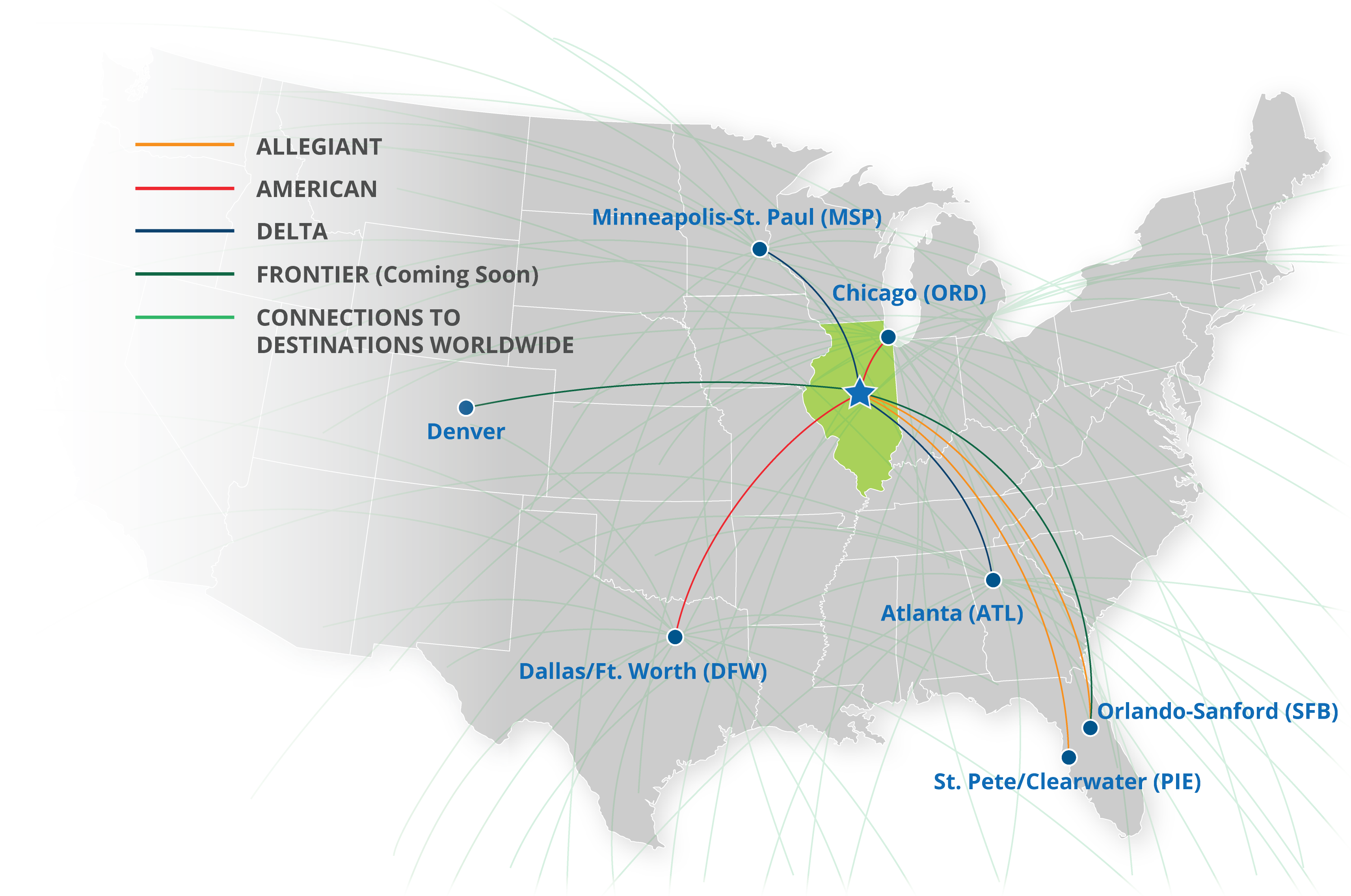 CIRA Route Map June 2018 - Central Illinois Regional Airport on