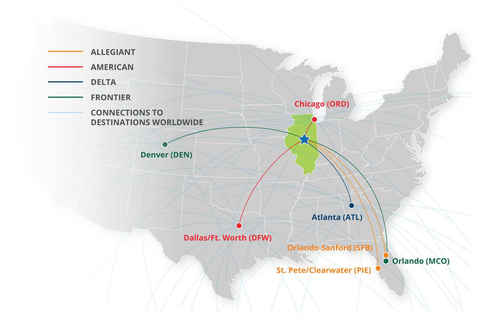 map showing flights from CIRA