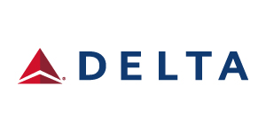 Delta airlines logo. Links to Delta.com