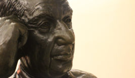 Close up of the statue of Adlai Stevenson II inside the terminal