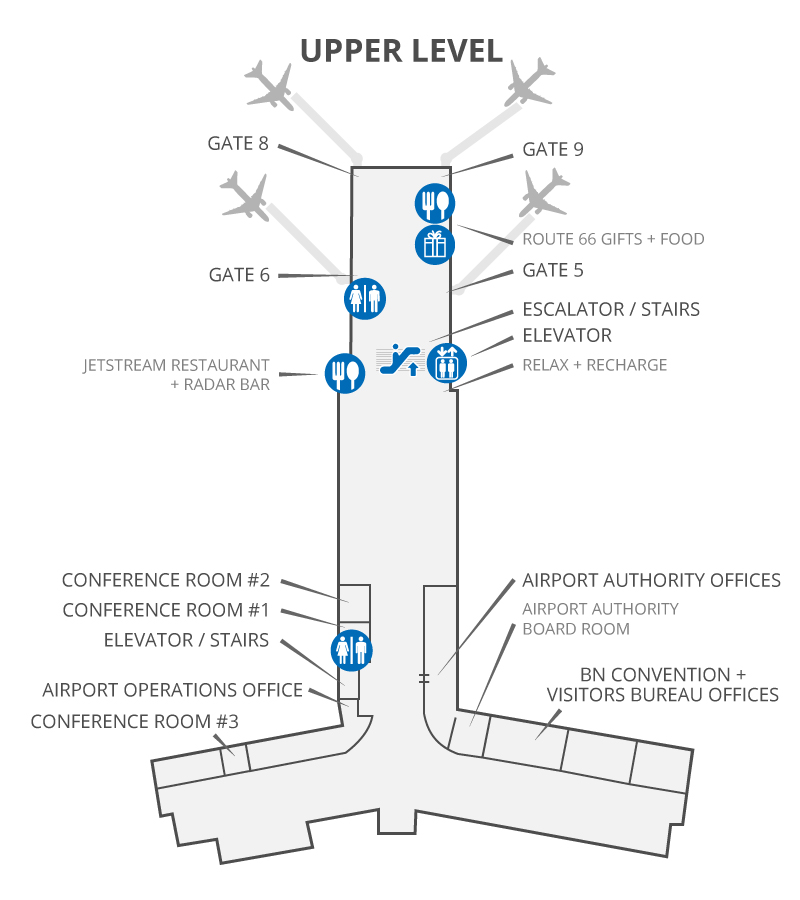 Map of the airport terminal, upper level